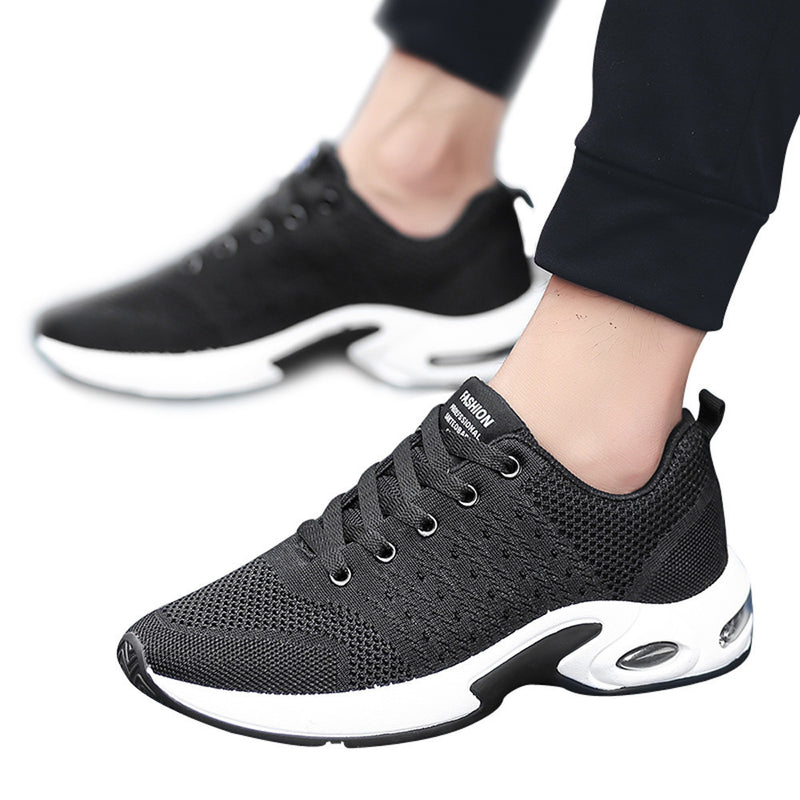 Men Fashion Solid Color Cross Tied Ventilation Shock Absorption Gym Shoes