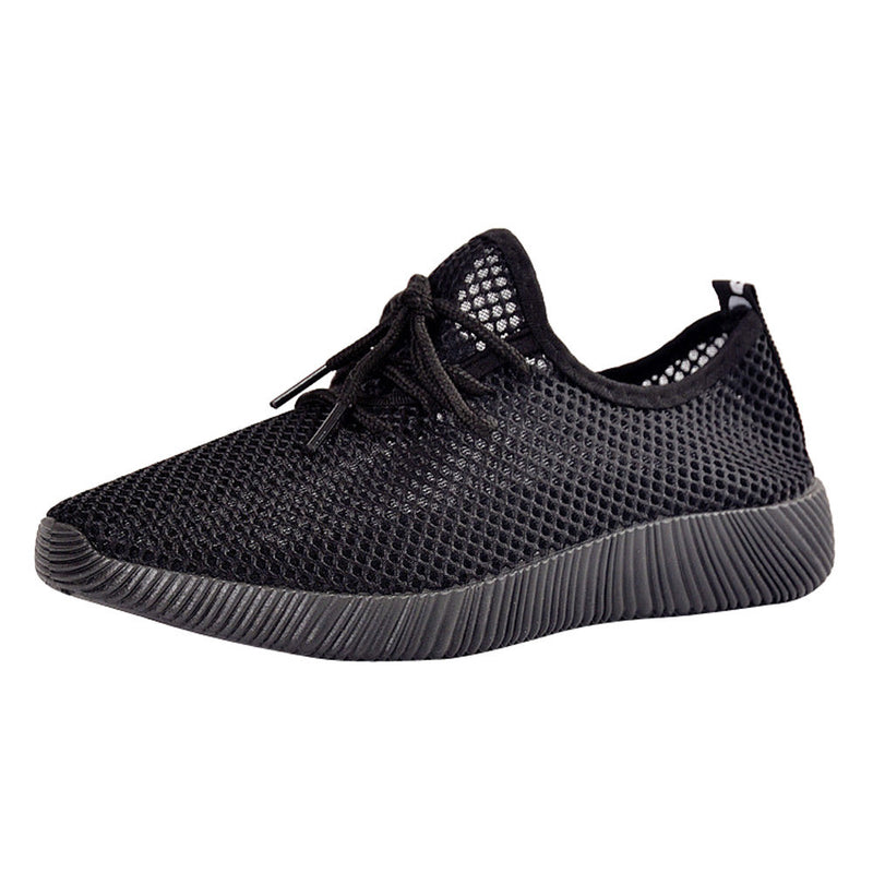 Men Solid Mesh Cross Tied Ventilation Gym Shoes Running Shoes Casual Shoes