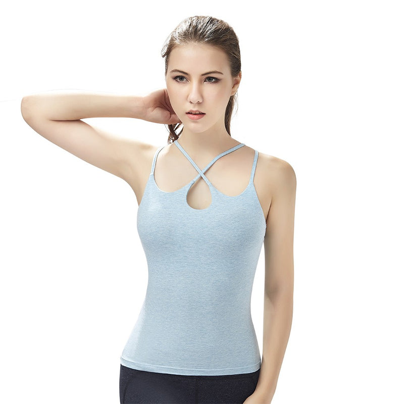 Fitness Women Yoga Shirts Sleeveless Sports Clothing Cotton Quick Dry Breathable Slim Running Gym Body   Building Padded Vest Tops