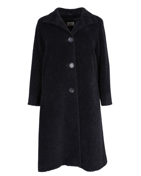 Cinzia Rocca Long Alpaca Coat with Back Pleat