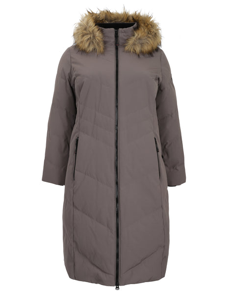 Nuage Zip Front Long Hooded Coat with Faux Fur