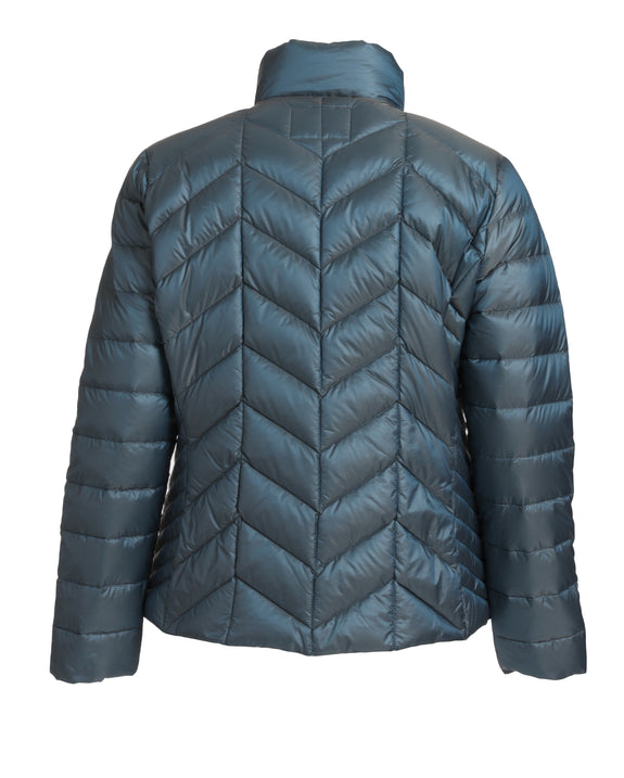 Junge Down Filled Chevron Quilted Stand Collar Jacket