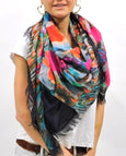 "Love's Pure Light Silk Scarf: ""Eye is on the Sparrow (Hummingbird) Fuchsia/Pinks"""