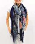 "Love's Pure Light Silk Scarf: ""Eye is on the Sparrow (Hummingbird) Grey/Black"""