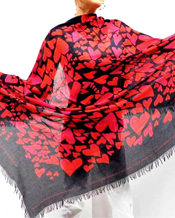 "Love's Pure Light Silk Scarf: ""Love is... One Million Hand Painted Hearts"" in Black"