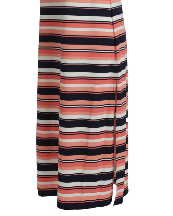Michael Kors Striped Ottoman Side Slit Maxi Dress