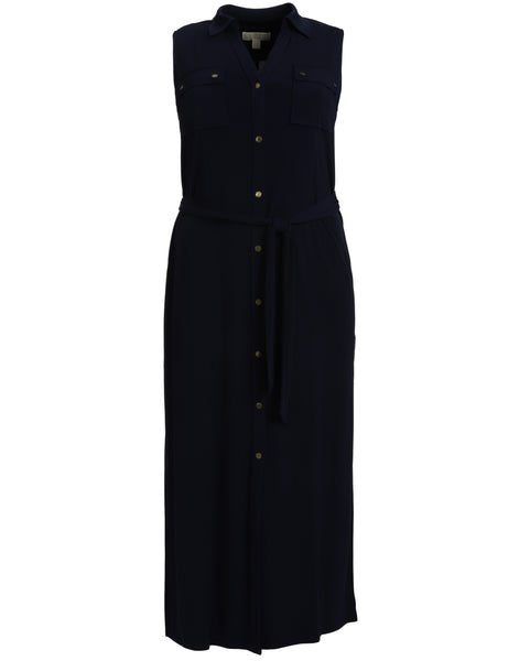 Michael Kors Sleeveless Jersey Maxi Shirtdress