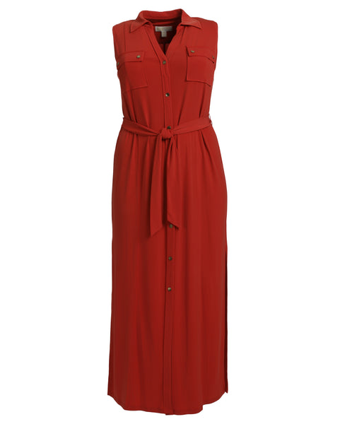 Michael Kors Sleeveless Jersey Maxi Shirtdress in Persimmon