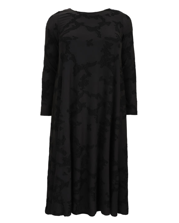 Alembika Black Vine Burnout Overlay Dress