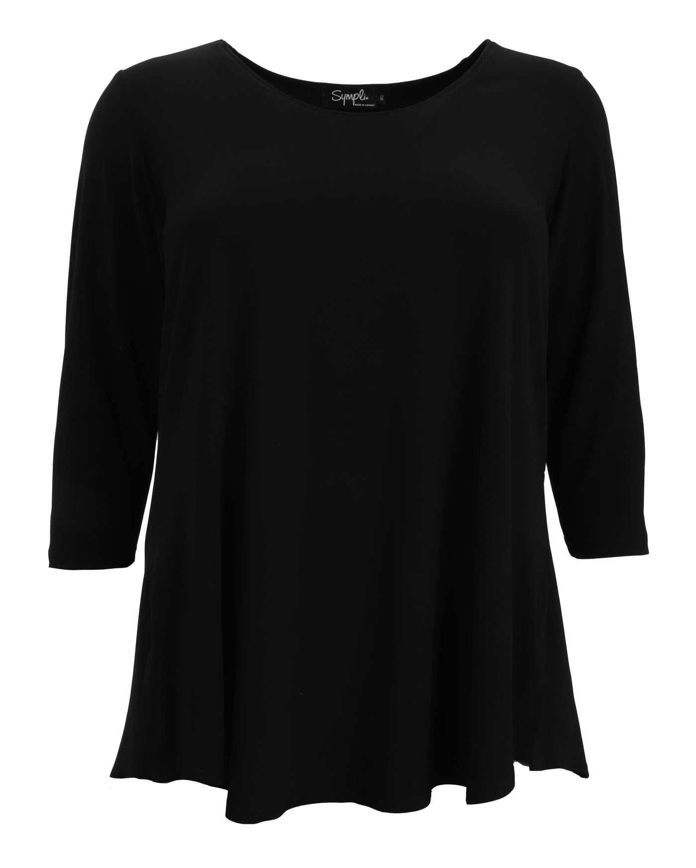 Sympli Go To Classic Relax T-Shirt with 3/4 Sleeve in Black