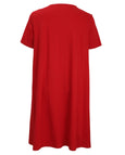 Luisa Viola Cotton Interlock A-Line Dress with Pockets in Red