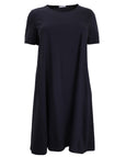 Luisa Viola Cotton Interlock A-Line Dress with Pockets in Navy