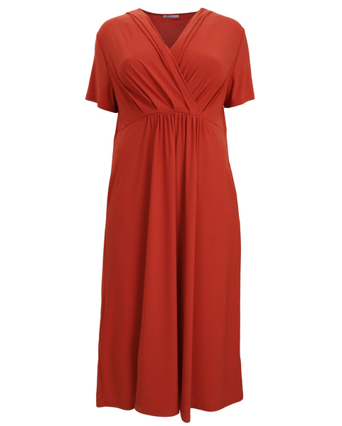 Luisa Viola Jersey Crossover Bodice Short Sleeve Dress in Orange