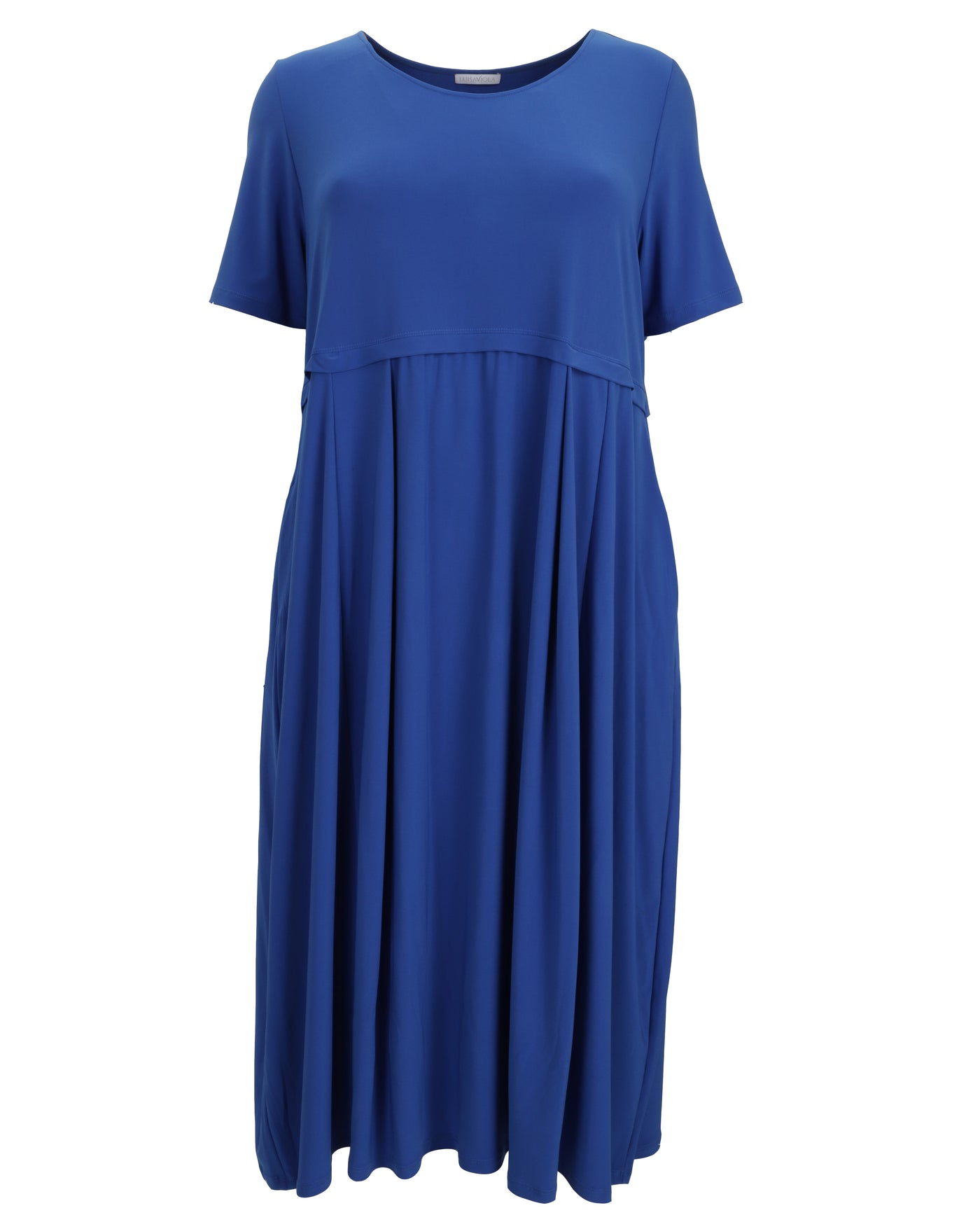 Luisa Viola Short Sleeve Jersey Maxi Dress with Inseam Pockets