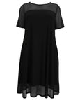 Luisa Viola Flared Jersey Dress with Mesh Trim Bodice and Hem