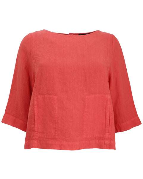 toni T by Toni Plus Button Back Detail Top in Coral
