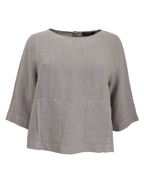 toni T by Toni Plus Button Back Detail Top in Sand
