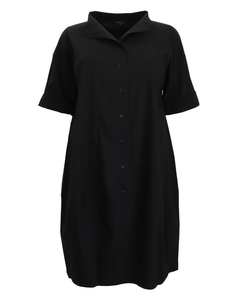 toni T by Toni Plus Button Front Stand Collar Dress in Black