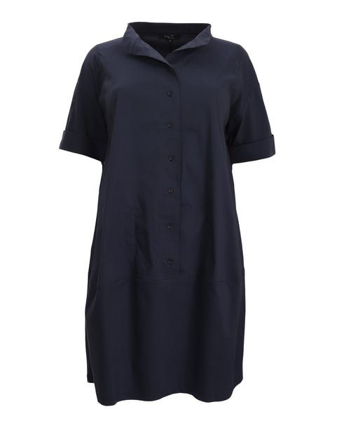 toni T by Toni Plus Button Front Stand Collar Dress in Night Blue