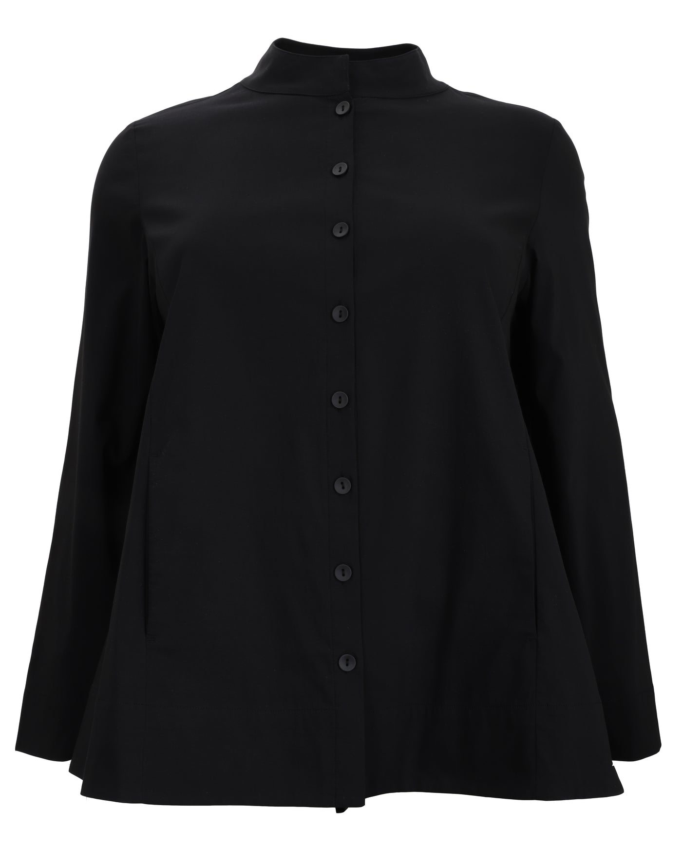 toni T by Toni Plus Stand Collar Jacket with High/Low Hem in Black