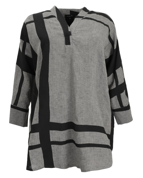 toni T by Toni Plus Plaid Linen Print Oversize Tunic