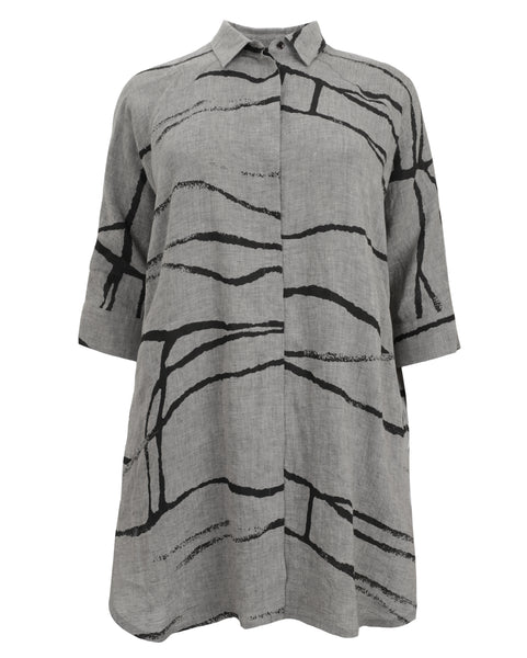 toni T by Toni Plus Abstract Scribble Print Linen Long Shirt