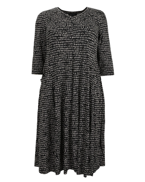 toni T by Toni Plus Line Dot Print Dress with Lantern Hem