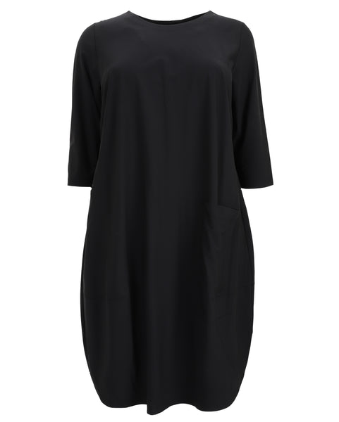 toni T by Toni Plus Paper Jersey Three Quarter Sleeve Dress with Pocket