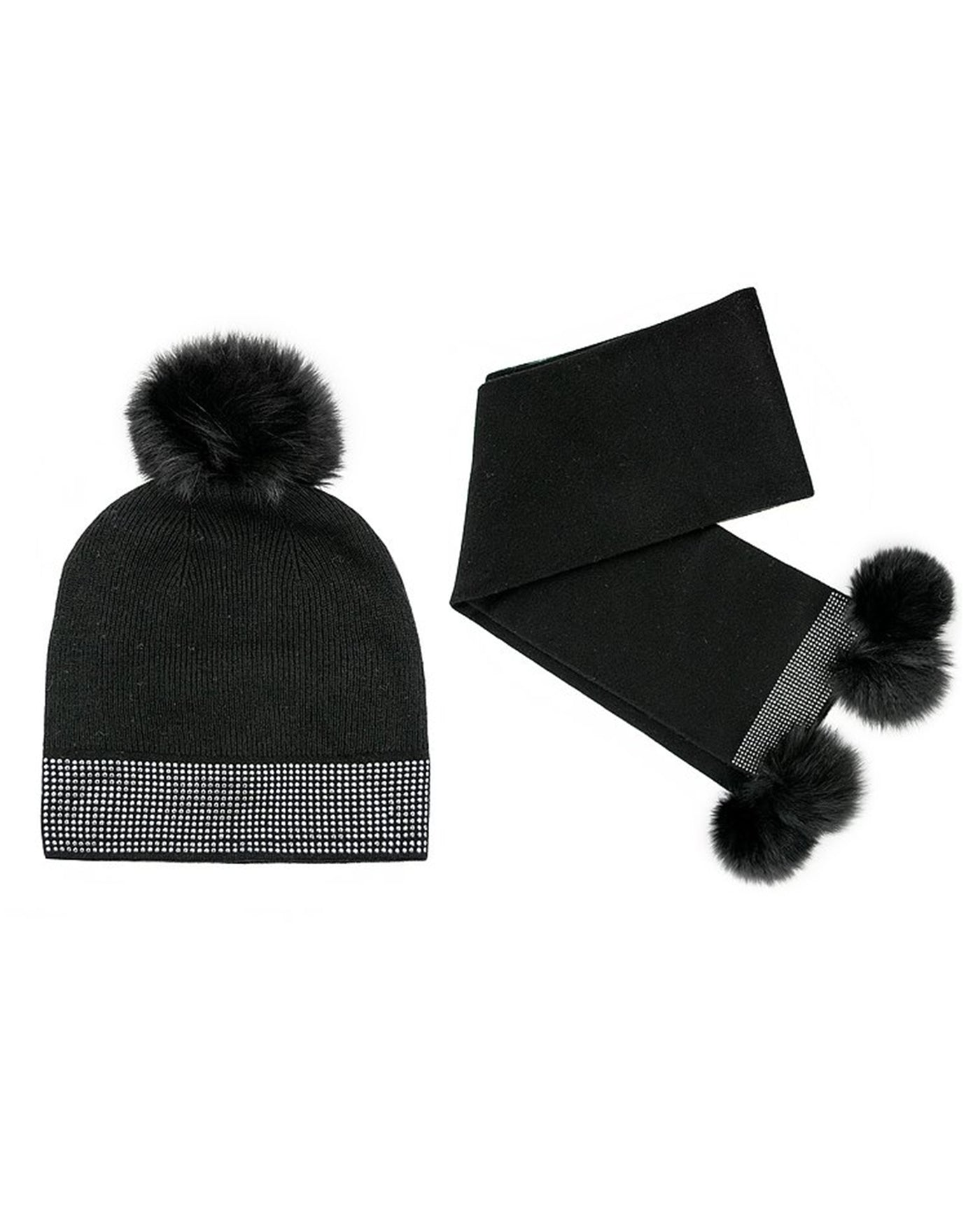 Knitted Black Wool Scarf And Hat Set With Fox Fur Pom Pom And Studs
