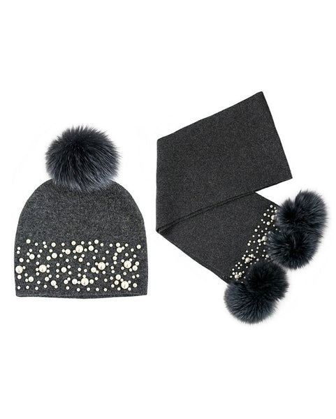 Knitted Charcoal Wool Scarf And Hat Set With Fox Fur Pom Pom And Pearls