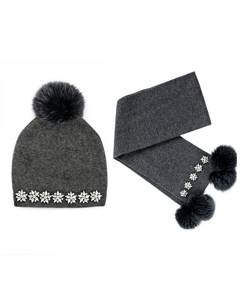 Knitted Charcoal Wool Scarf And Hat Set With Fox Fur Pom Pom And Stones