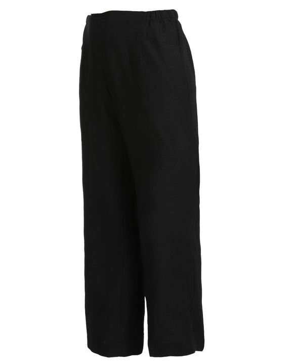 Q'Neel Crinkle 100% Linen Pant with Elastic Back
