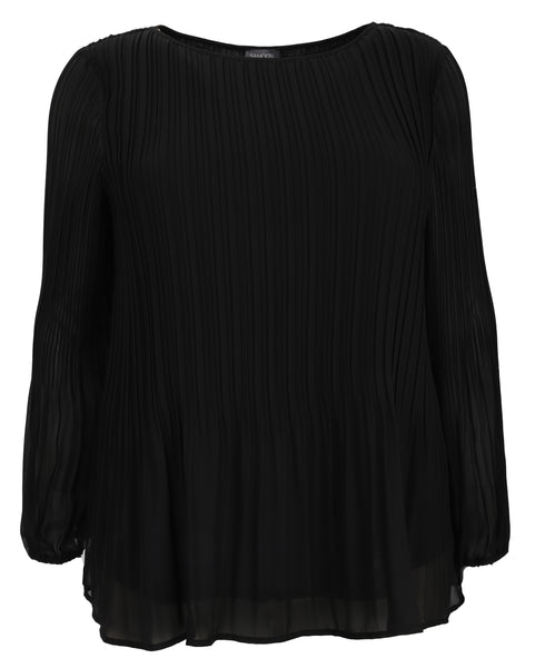 Samoon Long Sleeve Blouse with Pleat Detail