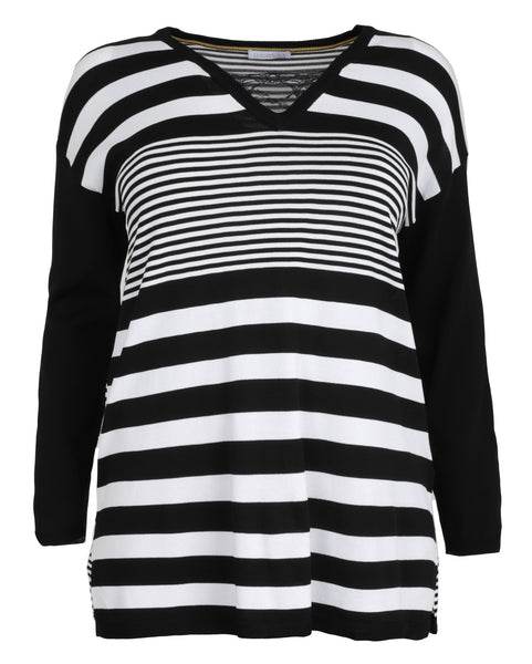 Luisa Viola Striped V-Neck Sweater