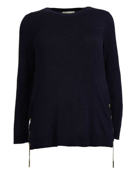 Michael Kors Laced-Side Long Sleeve Sweater