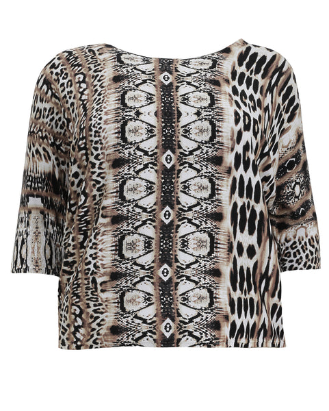 Joseph Ribkoff Mixed Animal Print Top
