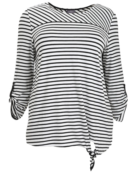 Samoon Striped Jersey Roll Sleeve Top