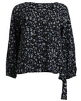 Michael Kors Floral Long Sleeve Top with Side Tie
