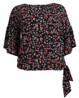 Michael Kors Garden Flounce Sleeve Top with Tie Waist