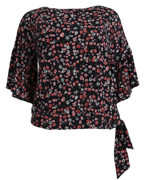 Michael Kors Garden Flounce Top with Tie Waist