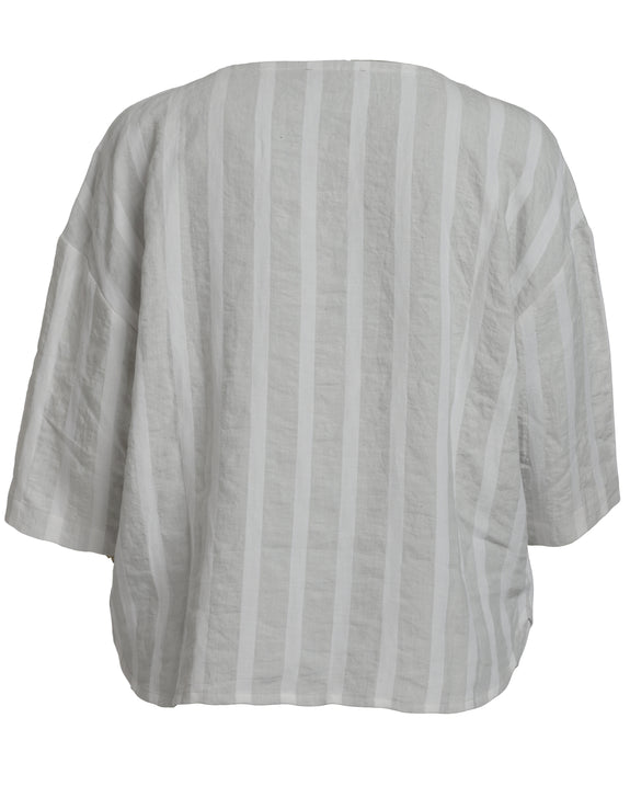 Vetono by Toni Plus Striped Linen/Cotton Boxy Top with Pocket