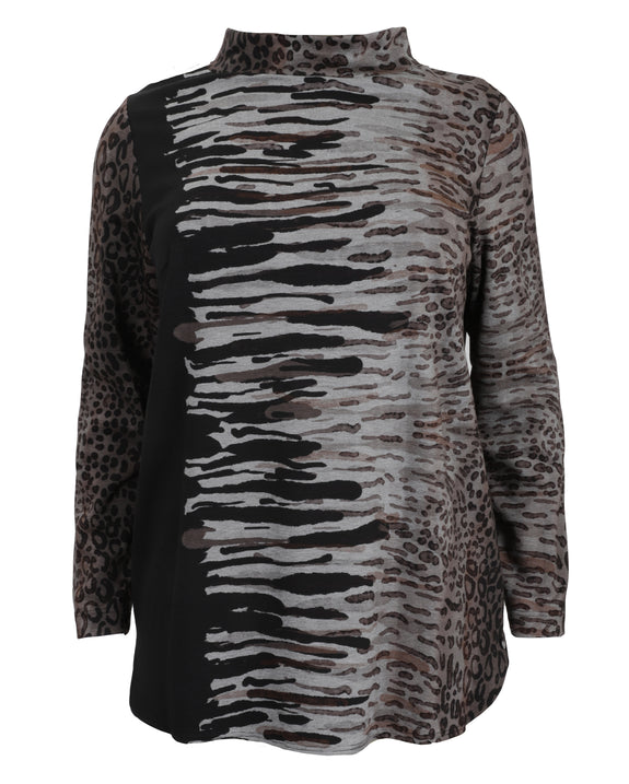 Q'Neel Ponte Animal Print Top