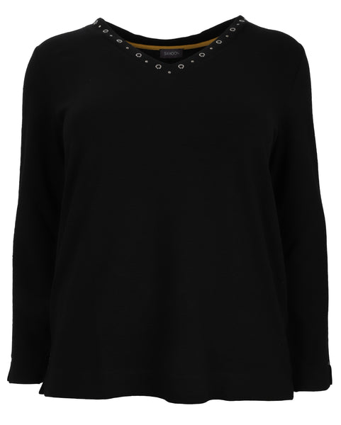 Samoon Long Sleeve Textured Top with Studded V-Neck