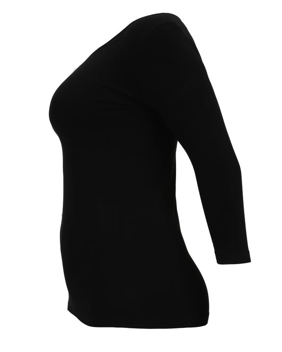 C'est Moi Bamboo 3/4 Sleeve Top in Black