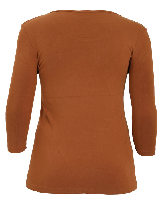 C'est Moi Bamboo 3/4 Sleeve Top in Ginger