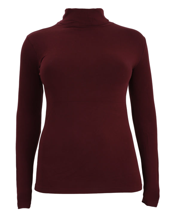 C'est Moi Bamboo Long Sleeve Turtleneck in Bordeaux