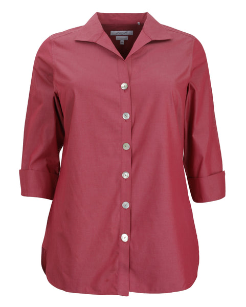 Foxcroft Three Quarter Sleeve Non-Iron Tunic in Wine