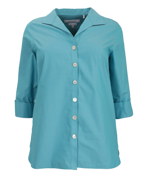 Foxcroft Three Quarter Sleeve Non-Iron Tunic in Blue Spruce