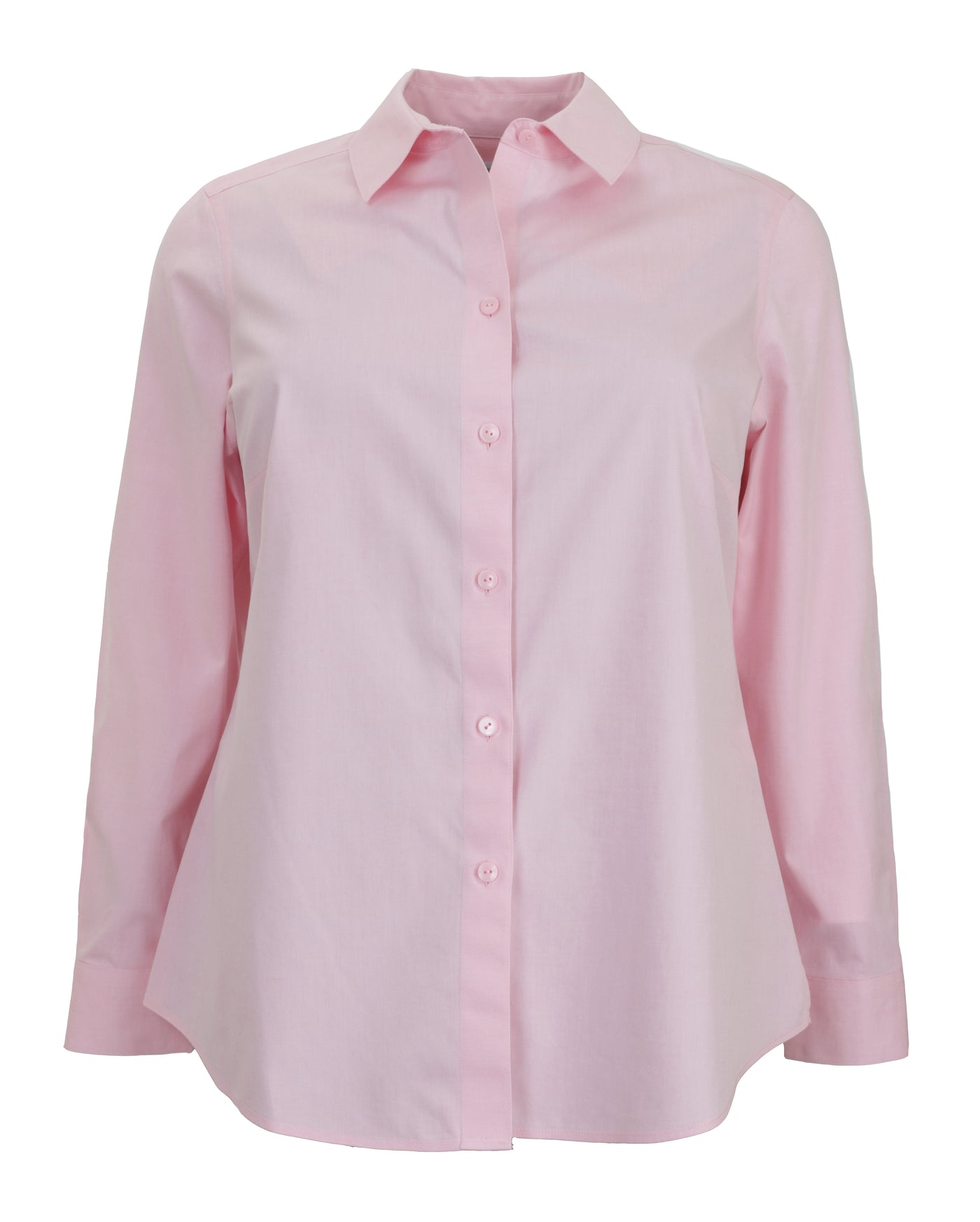 Foxcroft Long Sleeve Shaped Non-Iron Shirt in Pink