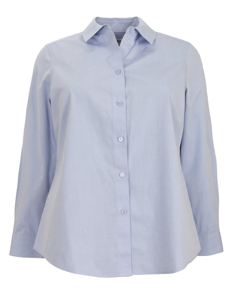Foxcroft Long Sleeve Shaped Non-Iron Shirt in Blue